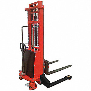 "Fixed Base Hydraulic Stacker, 2200 lb., Fork Width 4"", Fork Length 36"", Lifting Height Max. 118"""