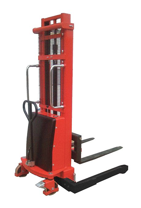 Powered-Lift/Manual-Push Straddle Stacker,  2,200 lb Load Capacity