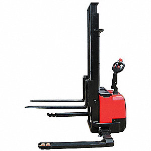 "Adjustable Base Stacker, 3300 lb., Fork Width 4"", Fork Length 45"", Lifting Height Max. 137"""