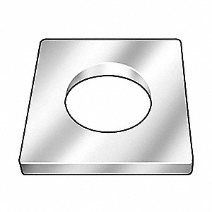 "Square Washer,1/2"" Bolt,Steel,2"" OD"