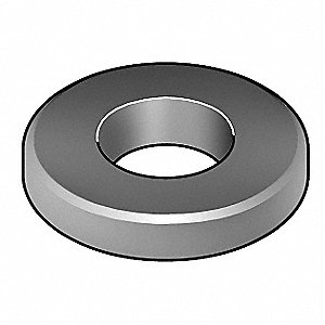 "1/4""x5/8"" O.D., Beveled Flat Washer, Steel, Case Hardened, Plain, PK25"