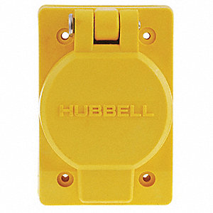 Yellow Watertight Receptacle with Cover, 30 Amps, 250VAC Voltage, NEMA Configuration: L6-30R