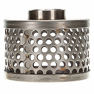 "Side Round Perforations Suction Strainer, Stainless Steel, 5"" Diameter"