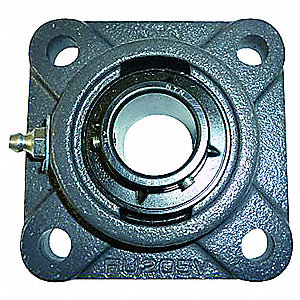 "Flange Bearing,4-Bolt,Ball,2-1/8"" Bore"