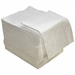 "16"" x 18"" Medium Absorbent Pad for Oil-Based Liquids, White, 100PK"