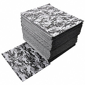 "18"" x 16"" Medium Absorbent Pad for Chemical / Hazmat, Gray Camoflougue, 50PK"