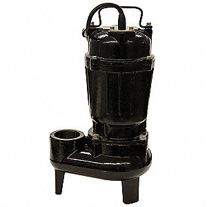 1/2 HP Manual Submersible Sewage Pump, 115 Voltage, 77 GPM of Water @ 15 Ft. of Head