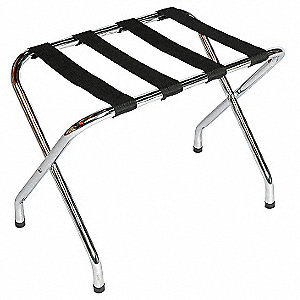 "Metal Luggage Rack, 20"" H X 26"" W X 16-1/2"" D, Cap.: 150 lbs., Chrome"