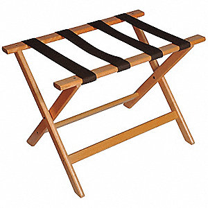 "Wood Flat Top Luggage Rack, 18-1/2"" H X 26"" W X 17"" D, Cap.: 150 lbs., Light Oak"