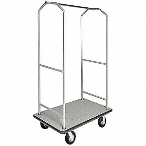 "72-1/2"" Metal Bellmans Cart with Gray Carpet and Powder Finish"