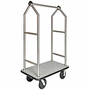 "72"" Stainless Steel Bellmans Cart with Gray Carpet and Stainless Steel Finish"