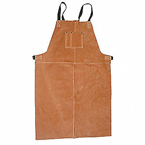 "LeatherWelding Bib Apron, Length 36"", Webbing and Snap Buckle Closure Type"