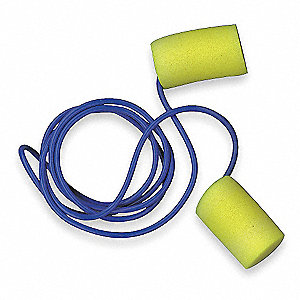 29dB Disposable Cylinder Shape Ear Plugs&#x3b; Corded, Yellow, Universal