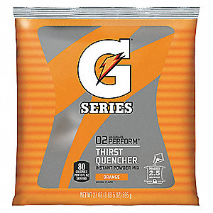 Orange Powder Sports Drink Mix, Package Size: 21 oz., Yield: 2-1/2 gal., 1 EA