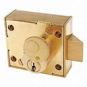 "Brass Rim Lock, Heavy-Duty, For Door Thickness 1-3/8"" to 2-1/4"""