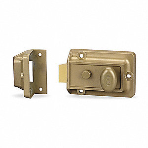 "Brass Rim Lock, Latchlock, For Door Thickness 1-3/8"" to 2-1/4"""