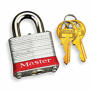 Red Lockout Padlock, Different Key Type, Master Keyed: No, Steel Body Material