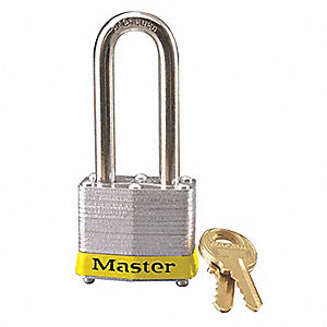 Yellow Lockout Padlock, Different Key Type, Master Keyed: No, Steel Body Material