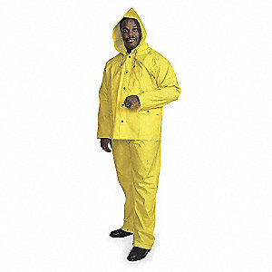 "Unisex Yellow PVC 3-Piece Rainsuit with Detachable Hood, Size: S, Fits Chest Size: 42"" to 44"""