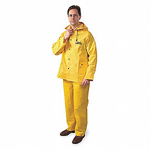 "Unisex Yellow PVC 3-Piece Rainsuit with Detachable Hood, Size: 4XL, Fits Chest Size: 64"" to 66"""