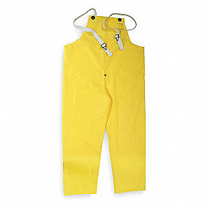 Flame Resistant Rain Bib Overall, PPE Category: 0, High Visibility: No, Polyurethane, 3XL, Yellow
