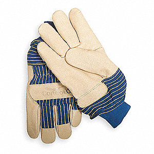 Pigskin Leather Palm Gloves with Knit Wrist Cuff, Blue/Tan, L