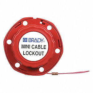 Cable Lockout, Vinyl, 8 ft., Retractable Cable Lockout Style