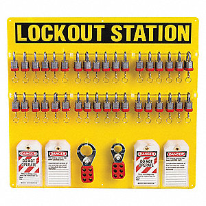 Lockout Station,Filled,21-1/2 In H