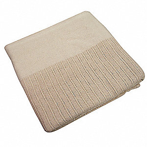 "90"" x 66"" Twin 100% Cotton Thermal Blanket, Beige"