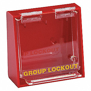 "Red Plastic Group Lockout Box, Max. Number of Padlocks: 3, 6"" x 6"""