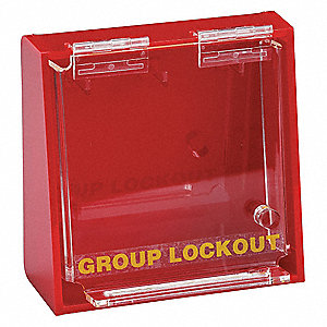 "Red Plastic Group Lockout Box, Max. Number of Padlocks: 10, 7-1/2"" x 12"""