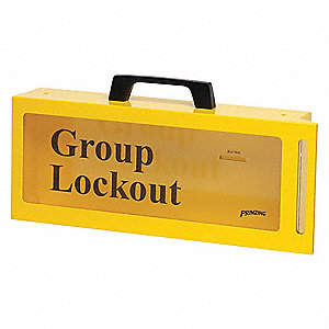 "Yellow Steel Group Lockout Box, Max. Number of Padlocks: 10, 6"" x 15"""