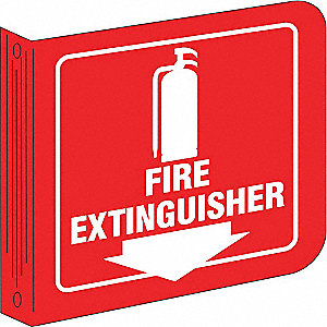 Fire Extinguisher Sign,8 x 8In,WHT/R,ENG