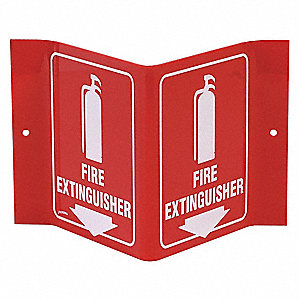 Fire Extinguisher Sign,6 x 9In,WHT/R,ENG