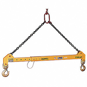 "Adjustable Spreader Beam, 10,000 lb., Max. Spread 168"", Min. Spread 96"", Headroom 102 to 126"""