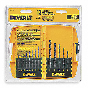 13-Pc. Pilot Point Drill Bit Set, 135°, High Speed Steel, Round Shank Type