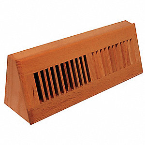Baseboard Register, 15 In, Laquered Natural, 2-19/64 Max  Duct Height (In )