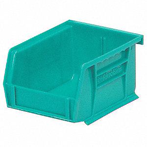 "Hang and Stack Bin, Teal, 7-3/8"" Outside Length, 4-1/8"" Outside Width, 3"" Outside Height"