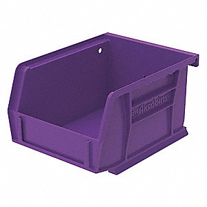 "Hang and Stack Bin, Purple, 5-3/8"" Outside Length, 4-1/8"" Outside Width, 3"" Outside Height"
