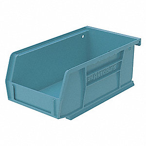 "Hang and Stack Bin, Light Blue, 7-3/8"" Outside Length, 4-1/8"" Outside Width, 3"" Outside Height"