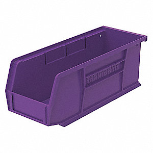 "Hang and Stack Bin, Purple, 10-7/8"" Outside Length, 4-1/8"" Outside Width, 4"" Outside Height"