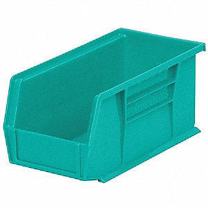 "Hang and Stack Bin, Teal, 10-7/8"" Outside Length, 5-1/2"" Outside Width, 5"" Outside Height"
