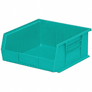 "Hang and Stack Bin, Teal, 14-3/4"" Outside Length, 16-1/2"" Outside Width, 7"" Outside Height"