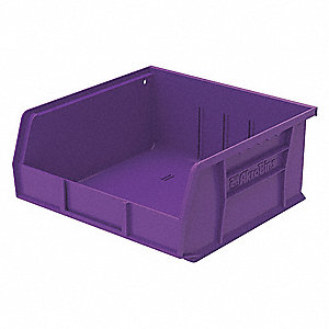 "Hang and Stack Bin, Purple, 10-7/8"" Outside Length, 11"" Outside Width, 5"" Outside Height"