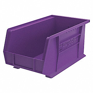 "Hang and Stack Bin, Purple, 14-3/4"" Outside Length, 8-1/4"" Outside Width, 7"" Outside Height"
