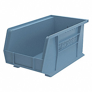 "Hang and Stack Bin, Light Blue, 14-3/4"" Outside Length, 8-1/4"" Outside Width, 7"" Outside Height"
