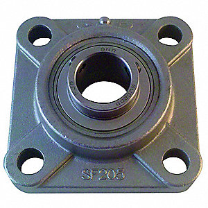 "Flange Bearing,4-Bolt,Ball,1-3/8"" Bore"