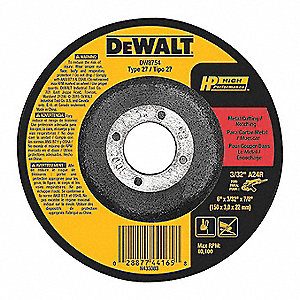 "6"" Type 27 Aluminum Oxide Depressed Center Wheels, 7/8"" Arbor, 3/32""-Thick, 10,100 Max. RPM"