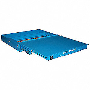 "43"" x 36"" x 7"" Assembled Steel Roll Out Shelving, Blue"