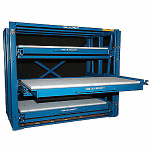 "54"" x 30"" x 54"" Assembled Steel Brake Die Roll Out Shelving, Blue"